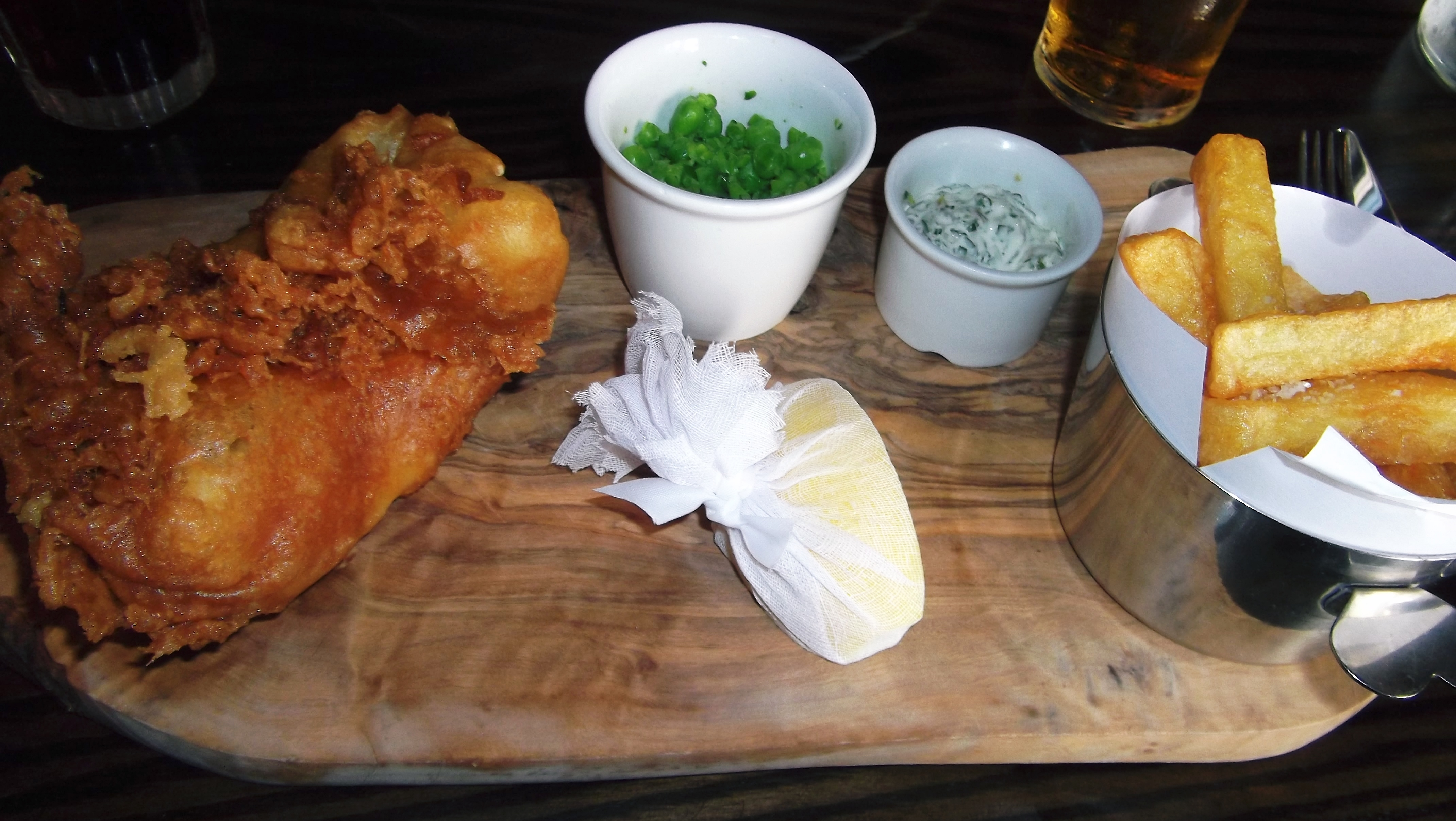 I particularly liked the crispy batter on the fish as well as the little ribbon tied wrap around the lemon plus the cute dish that the chips