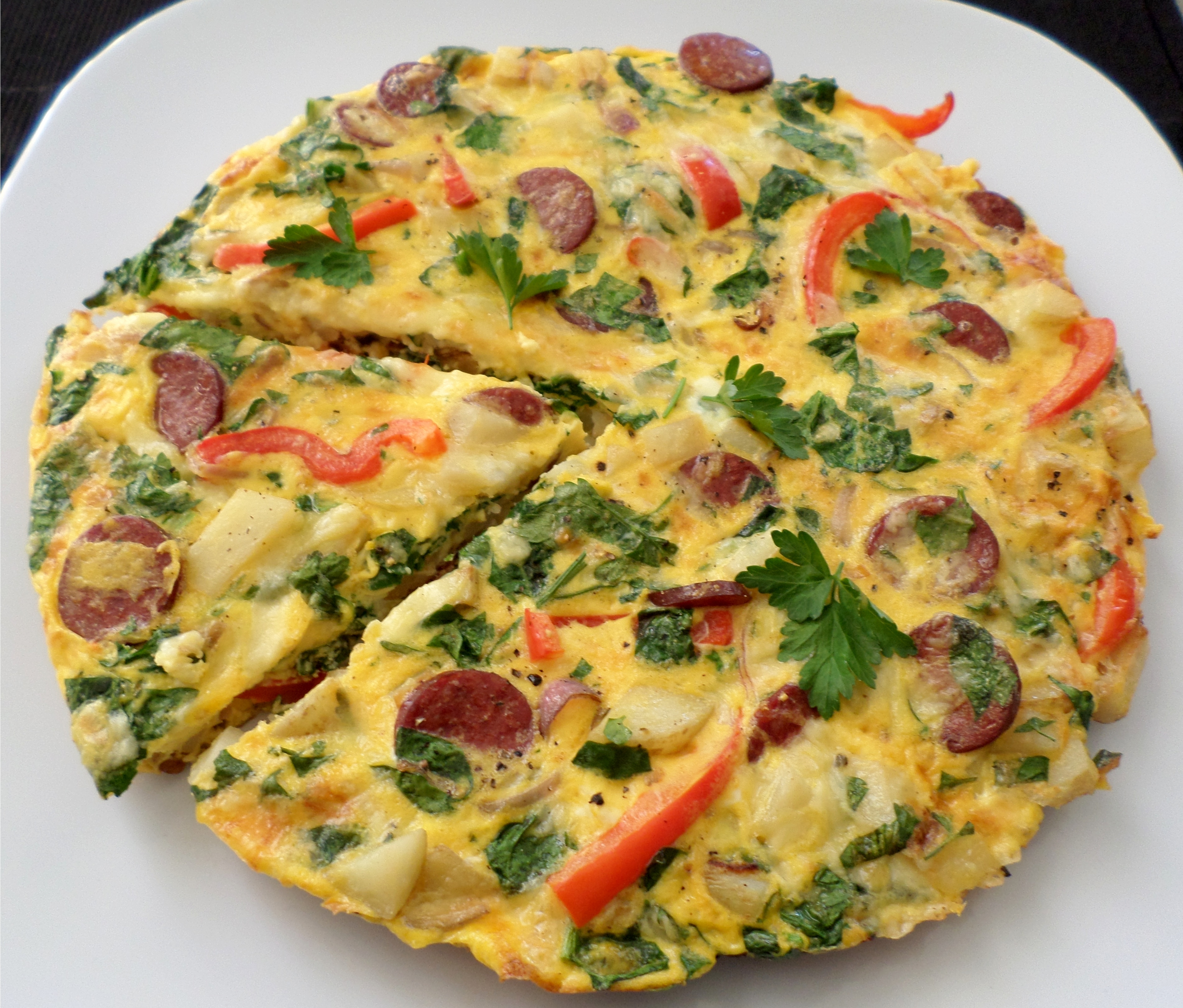 Spanish Tortilla with Chorizo and Peppers