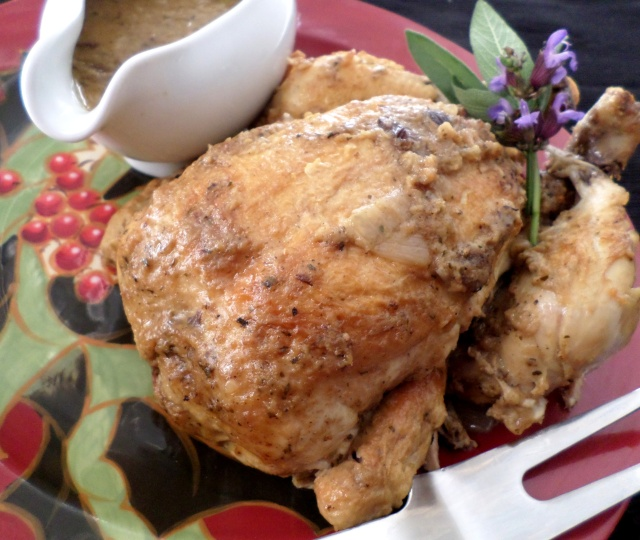 Slow Cooker 'Roast' Chicken with Stuffing Gravy | Recipe Adaptors